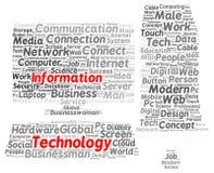 Informatietechnologie de vorm van de woordwolk royalty-vrije illustratie