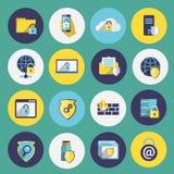 Informatietechnologie geplaatste veiligheidspictogrammen Stock Fotografie