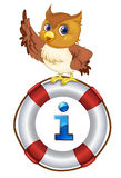 Information. Illustration of a cartoon character and information icon Royalty Free Stock Images