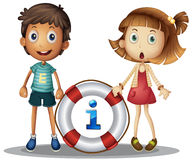 Information. Illustration of boy and girl with information Stock Photo