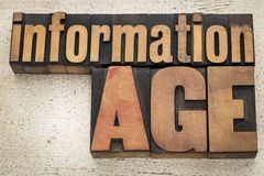 Information age in wood type Stock Image