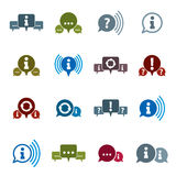 Information analyzing collecting and exchange theme. Icon set, Analyze and solution, dialog and speech bubble, vector conceptual unusual symbols for your design royalty free illustration