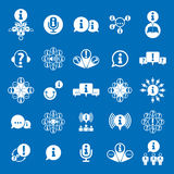 Information analyzing collecting and exchange theme icon set Royalty Free Stock Photography