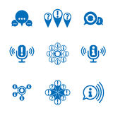 Information analyzing collecting and exchange theme icon set Stock Photography