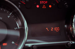 Information about the approaching service. On the car dashboard Royalty Free Stock Photo