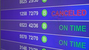 Information board in airport with info `Canceled`. Information board in airport, arrivals scoreboard with info - Canceled. Illustration for news about plane stock footage