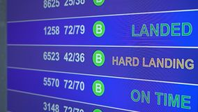Information board in airport with info `Hard Landing`. Information board in airport, arrivals scoreboard with info - Hard Landing. Illustration for news about vector illustration