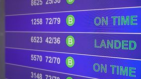 Information board in airport with info `Landed`. Information board in airport, arrivals scoreboard with info - Landed. Illustration for news about plane crash stock video
