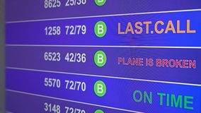Information board in airport with info `Plane is broken`. Information board in airport, arrivals scoreboard with info - Plane is broken. Illustration for news stock illustration