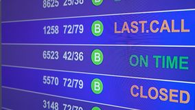 Information board in airport with info `Canceled`. Information board in airport, arrivals scoreboard with info - Canceled. Illustration for news about plane stock illustration