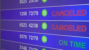 Information board in airport with info `Canceled`. Information board in airport, arrivals scoreboard with info - Canceled. Illustration for news about plane stock video footage