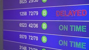 Information board in airport with info `Delayed`. Information board in airport, arrivals scoreboard with info - Delayed. Illustration for news about plane crash stock illustration