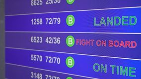 Information board in airport with info `Fight on board`. Information board in airport, arrivals scoreboard with info - Fight on board. Illustration for news stock video footage