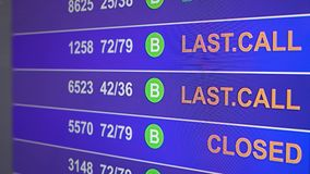Information board in airport with info `Last call`. Information board in airport, arrivals scoreboard with info - Last Call. Illustration for news about plane stock video footage