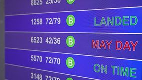 Information board in airport with info `May Day`. Information board in airport, arrivals scoreboard with info - May Day. Illustration for news about plane crash royalty free illustration