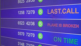 Information board in airport with info `Plane is broken`. Information board in airport, arrivals scoreboard with info - Plane is broken. Illustration for news vector illustration