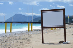 Information board on the beach. Sea Stock Photo