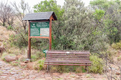 Information board and bench at the Valley of Desolation Royalty Free Stock Images