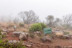 Information board and bench at the Valley of Desolation Royalty Free Stock Photo