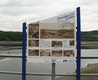 Information board on the Biggesee stock photo