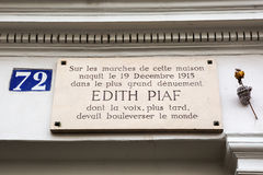 Information board at the birth house of Edith Piaf Royalty Free Stock Photo