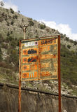 Information board on the border in Hani i Hotit. Albania Royalty Free Stock Photo