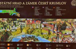 Information Board Castle Cesky Krumlov. Information board for castle and chateau in Cesky Krumlov, Czech Republic Stock Image