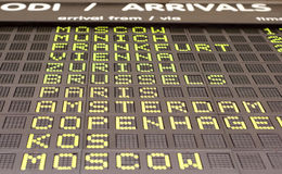 Information board. Flights information board in airport terminal Royalty Free Stock Photo