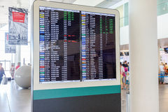 Information board in the international terminal of the airport K Royalty Free Stock Photo