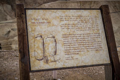 Information board, Qumran National Park in Israel. Information board of Scrolls Cave in Qumran National Park near the Dead Sea in Israel Stock Image