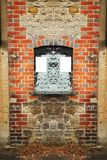 Information board scene. Information board on red brick wall scene represent the sign and symbol concept related idea Royalty Free Stock Images