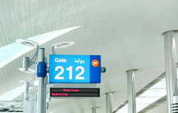 Information board showing gate number and the flight Royalty Free Stock Photo