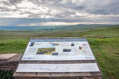Information board on the summit of Hartside in the North Pennines, UK. CUMBRIA, ENGLAND - JUNE 15, 2016 - Information board on the summit of Hartside in the royalty free stock photo