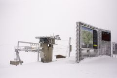Information board at top of mountain with snowing covered on floor Stock Photography