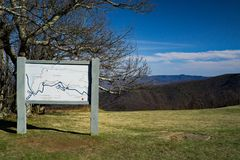 An information board located at Rock Knob, Blue Ridge Parkway, Virginia, USA. An information board of the Trail System located at Rocky Knob, Blue Ridge Parkway Stock Photography