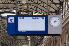 Information board at train failure or delay strike Stock Images
