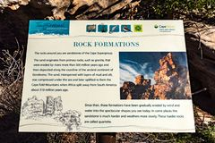 Information board at Truitjieskraal in the Cederberg Mountains. TRUITJIESKRAAL, SOUTH AFRICA, AUGUST 24, 2018: An information board at Truitjieskraal in the stock photography