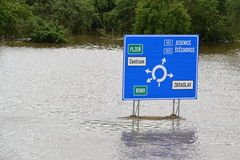 An information board in the water Stock Photo