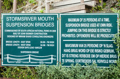 Information boards at the mouth of the Storms River Stock Image
