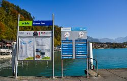 Information boards at tourist jetty royalty free stock photos