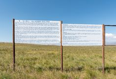 Information boards at the viewpoint of the Sterkfontein Dam Stock Photography