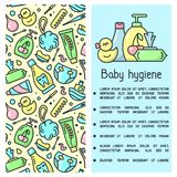 Information booklet concept with baby hygiene accessories and sample text. Cartoon style vector illustration stock illustration