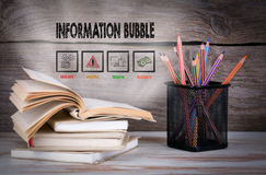 Information Bubble. Stack of books and pencils on the wooden table. Royalty Free Stock Photography