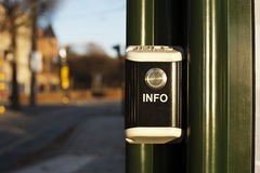 Information button on bus station. Info button on bus station. outdoor Stock Photos