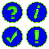 Information Buttons. Neon green information buttons: question mark, 'i', check mark, exclamation point vector illustration
