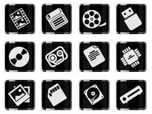 Information carriers icons Stock Photo