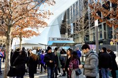 Information Center for the 9-11 Memorial in New York City. New York, NY/USA Dec 25 2016: The information center at the National September 11 Memorial is visited stock photo
