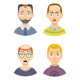Information chart of hair loss stages types of baldness illustrated on male head vector. Stock Photo