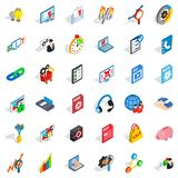 Information cloud icons set, isometric style Royalty Free Stock Images