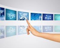 Information communication around world. Finger Stock Image